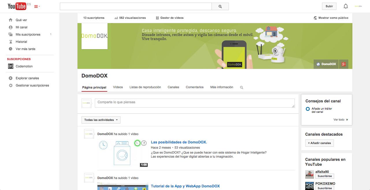 Página en YouTube de DomoDOX
