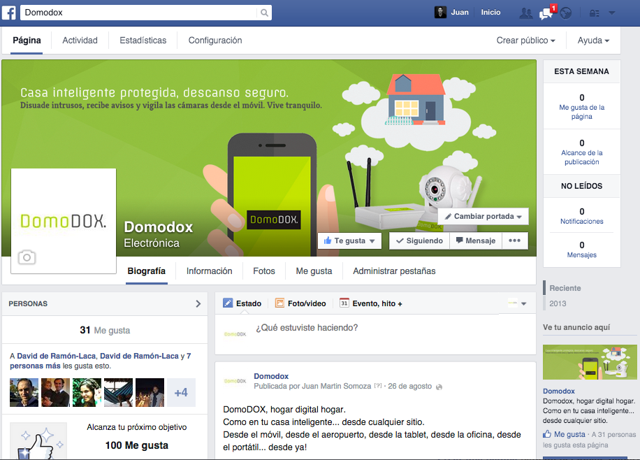 Página en Facebook de DomoDOX