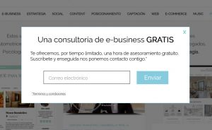 Formulario Express. Captación de Email con pop-up.