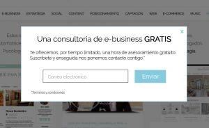 Formulario Express. Captación de Email con pop-up.